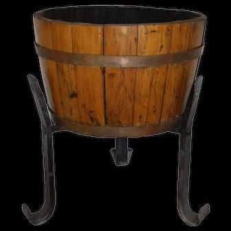 Wine Barrel Planter on Iron Stand