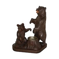 Carved Black Forest Bears Ashtray