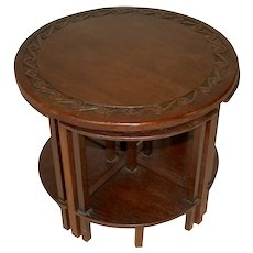 Round Oak Nesting Tables, Set of Five