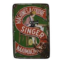 Enamel Singer Sewing Machine Sign