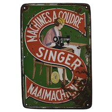 Enamel Singer Sewing Machine Sign
