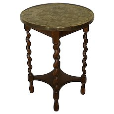 Round Side Table with Embossed Brass Top and Barley Twist Legs
