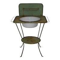 Green Metal Wash Stand with Enamel Basin