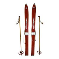 German Child's Skis and Bamboo Poles