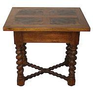 Burled Walnut Side Table with Barley Twist Legs