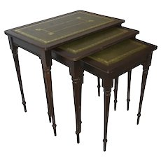 Nesting Tables with Green Leather Tops