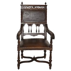 Carved Armchair with Leather Upholstery