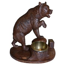 Carved Black Forest Bear with Brass Dish