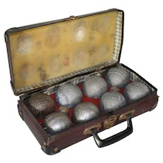 Petanque Ball Set in Leather Case