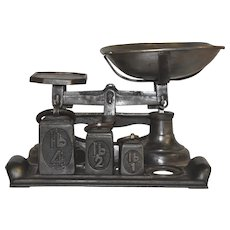 Cast Iron Balance Scale with Three Weights