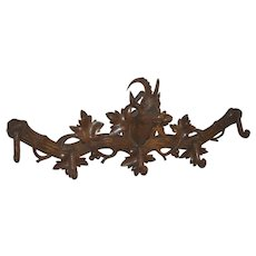 Carved Black Forest Ibex Coat Rack