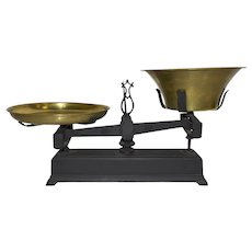 Cast Iron Balance Scale with Brass Pans