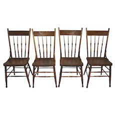 American Oak Pressback Spindle Chairs, Set of Four
