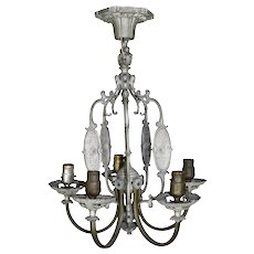 Pewter and Bronze Finish Chandelier