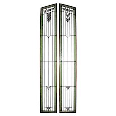 Craftsman Stained Glass Panels, Set of Two