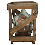 Hand Painted Cabernet Sauvignon Demijohn in Wooden Crate