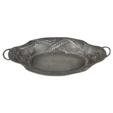 Pewter Oval Tray With Handles