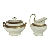 Minton Gold Plated Buckingham Sugar Bowl and Creamer signed by Elijah Sherman Grammer