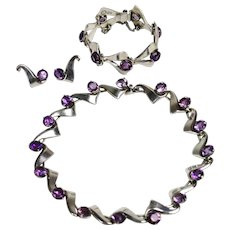 Miguel Melendez, Mexican Sterling Silver and Amethyst Necklace/Choker, Bracelet and Earrings Circa. 1950