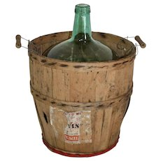 Spanish Wine Bottle in Wood Basket