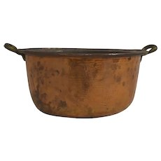 Hammered Copper Pot with Brass Handles