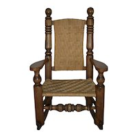 Child's Rocking Chair with Rush Seat and Back