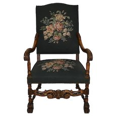 Louis XV French Walnut Embroidered Armchair