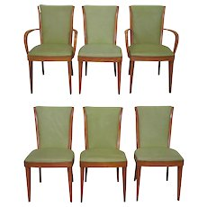 Heywood Wakefield Champagne Solid Maple Mid Century Modern Set of 6 Dining Chairs