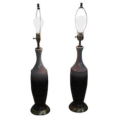 Mid Century Modern Pair of Drip Glaze Pottery Lamps