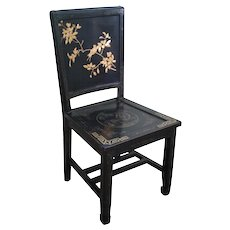 Antique Chinese Black Lacquer Chinoiserie Side Chair
