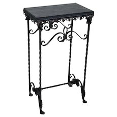 Antique Gothic Style Wrought Iron Marble Top Console Table