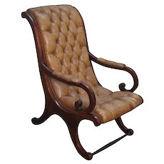 Antique Solid Mahogany Tufted Leather Lolling Arm Chair