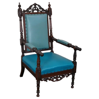 Antique 19th Century American Victorian Renaissance Carved Rosewood Throne Arm Chair