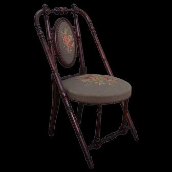 Hunzinger Signed Antique Walnut Needlepoint Side Chair circa 1869 (A)