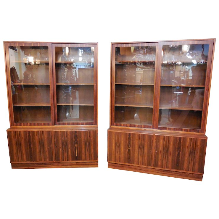 Hundevad Danish Control Pair of Rosewood Glass Door Bookcases  sc 1 st  Ruby Lane & Hundevad Danish Control Pair of Rosewood Glass Door Bookcases ...