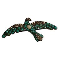 Antique Victorian Persian turquoise small Bird Brooch