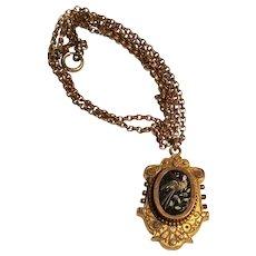 Antique Victorian Gold Filled micro mosaic locket - Bird Motif