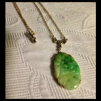 Antique 14k gold carved green jade pendant