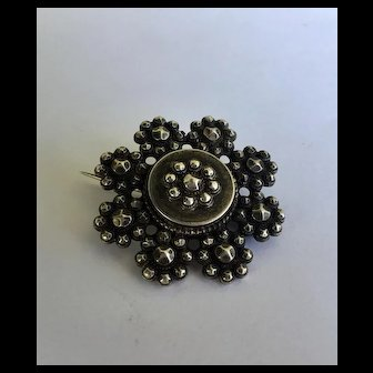 Antique pre 1900's gorgeous perfect steel cut brooch