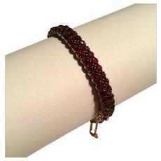 Antique bohemian Garnet 2 row hinged bracelet