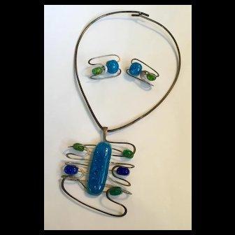 Rare Rare vintage signed Elsa Freund Sterling ceramic modernist necklace & earrings
