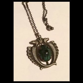 Incredible 1920's sterling scarab beetle egyptian necklace