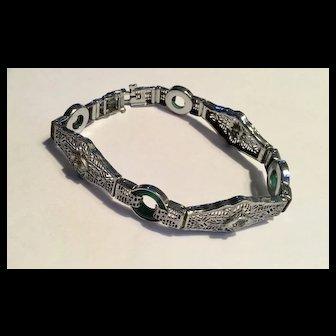 Vintage 1920's rhodium filigree link bracelet