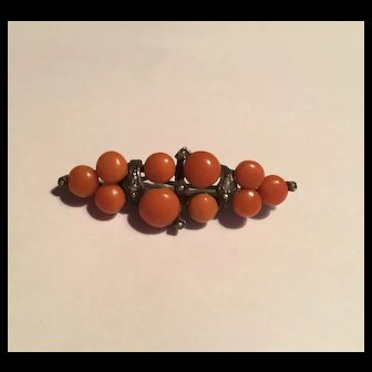 Antique cabachon coral seed pearl sterling brooch
