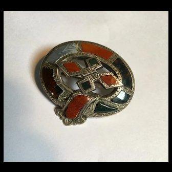 Antique Victorian sterling Scottish agate brooch
