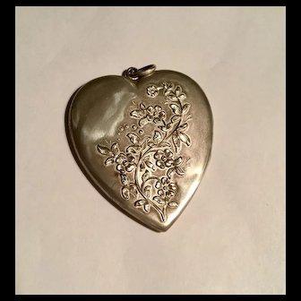 Large antique sterling heart locket