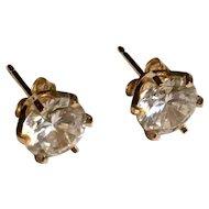 Vintage 14k yellow gold cz stud earrings 2ct twd