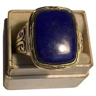 Incredible antique 14k yellow gold lapis men's ring - size 11