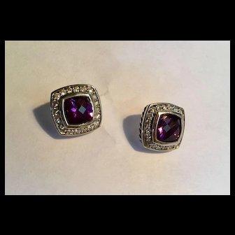 Vintage preowned signed David Yurman sterling 7mm amethyst diamond Albion earrings
