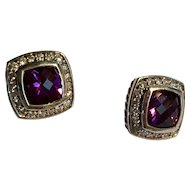 Vintage preowned signed David Yurman sterling 7mm amethyst diamond Albion earrings
